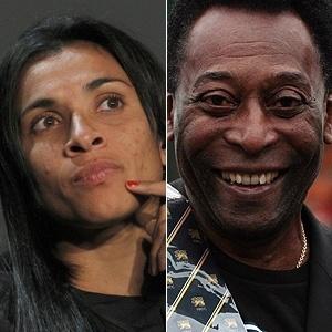 Montagem com Pelé e Marta