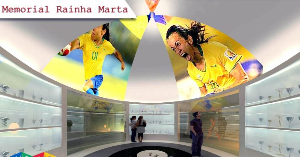 Parte interna do memorial que será feito em homenagem à jogadora Marta