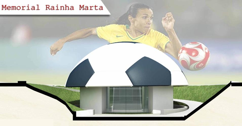 Projeto do memorial que contará a história da jogadora Marta