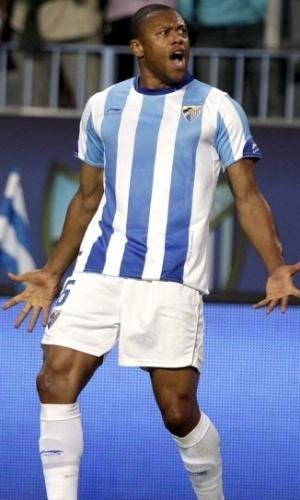 Julio Baptista comemora gol marcado contra o Sporting Gijón pelo Espanhol (10/05/2011)
