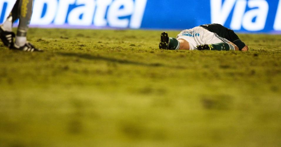 Wellington Paulista fica no chão após sofrer falta na partida entre Palmeiras e Coritiba (11/05/2011)