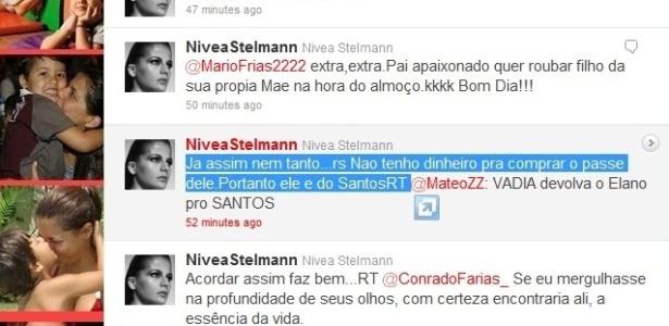 Nivea Stelmann responde a torcedor santista no Twitter