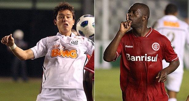 Keirrison, do Santos, e Zé Roberto, do Inter, marcaram no empate em 1 a 1 na estreia dos clubes no Brasileirão (21/05/2011)