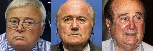 Cartolas da Fifa envolvidos em denúncias de corrupção: Ricardo Teixeira, Joseph Blatter e Nicolas Leoz