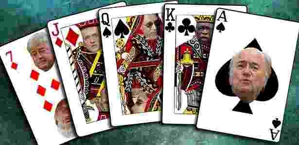 Principais cartas do baralho da Fifa protagonizam jogo de escândalos e suborno - Arte UOL