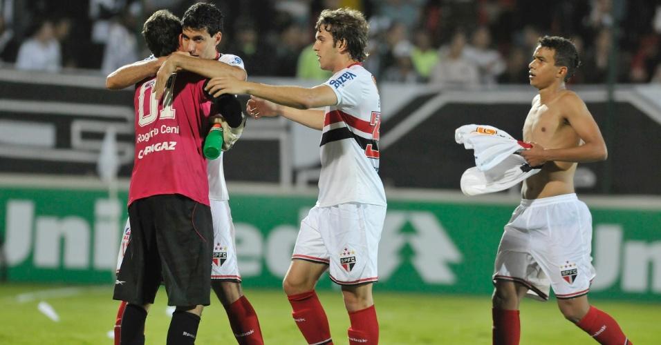 Rogério Ceni, Xandão, Bruno Uvini e Luiz Eduardo, do São Paulo (08/06/2011)