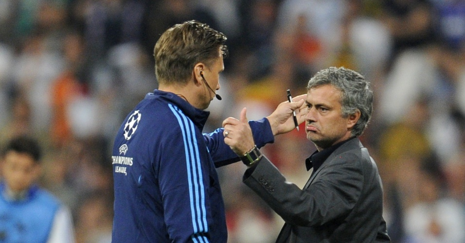 Mourinho no momento em que era expulso de campo pela Liga dos Campeões no Santiago Bernabéu