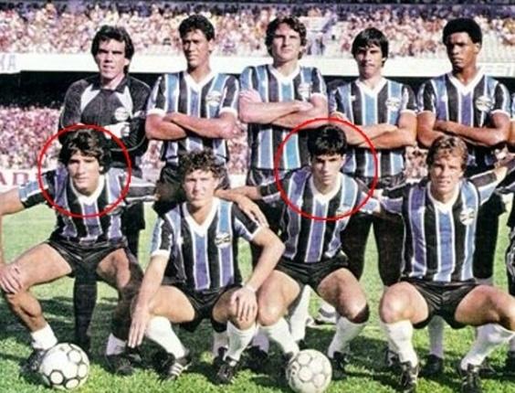 Renato Gaúcho e Caio Júnior quando jogaram juntos pelo Grêmio