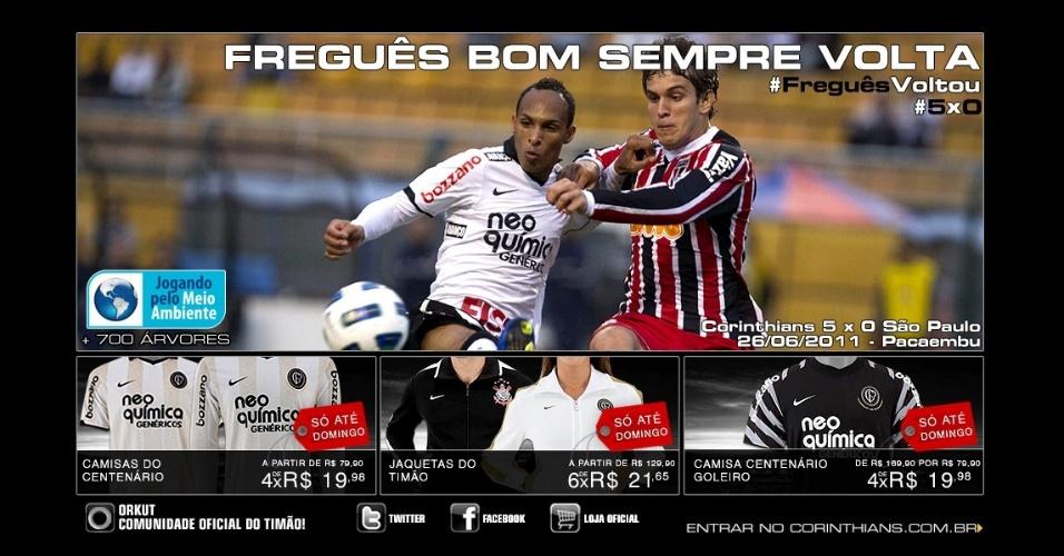 Site oficial do Corinthians tira onda após goleada contra o São Paulo pelo Brasileirão (26/06/2011)