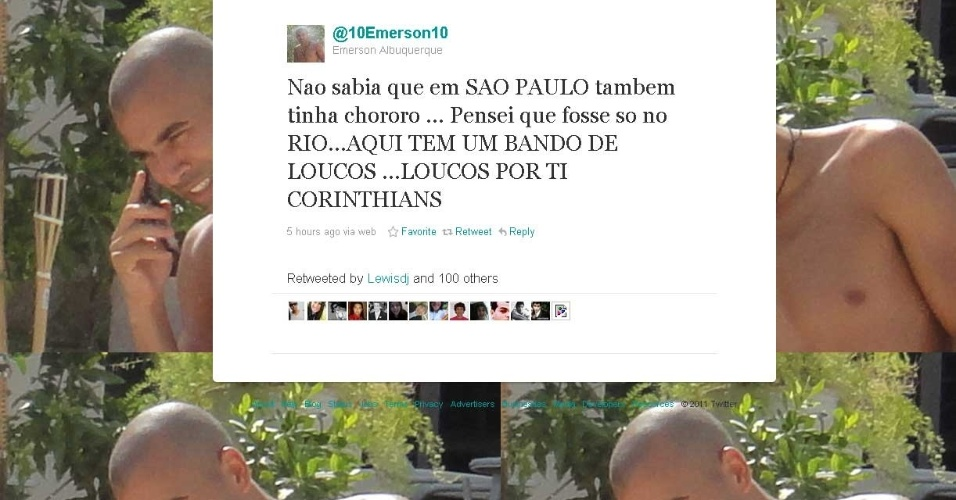 Reprodução do Twitter de Emerson, atacante do Corinthians, que provocou os são-paulinos