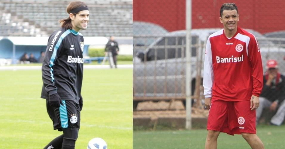 Montagem com atacante Miralles do Grêmio e meia D'Alessandro do Inter