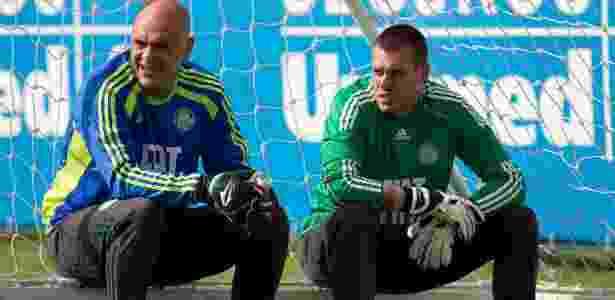 Marcos (e) e Deola são fotografados durante treino do Palmeiras - Fabio Braga/Folhapress - Fabio Braga/Folhapress