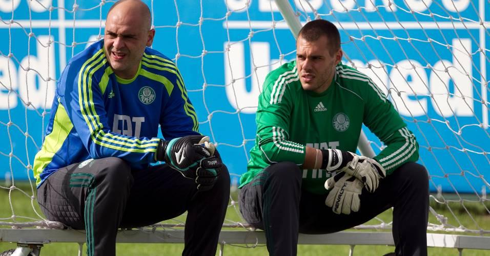 Marcos (e) e Deola são fotografados durante treino do Palmeiras