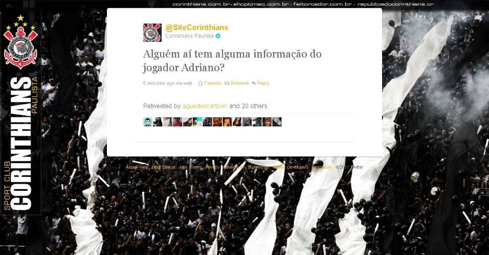 Post no Twitter do Corinthians sobre ação de marketing com Adriano
