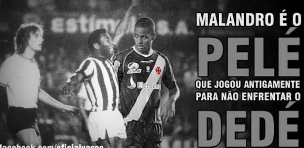Montagem envolvendo zagueiro Dedé, do Vasco, e Pelé