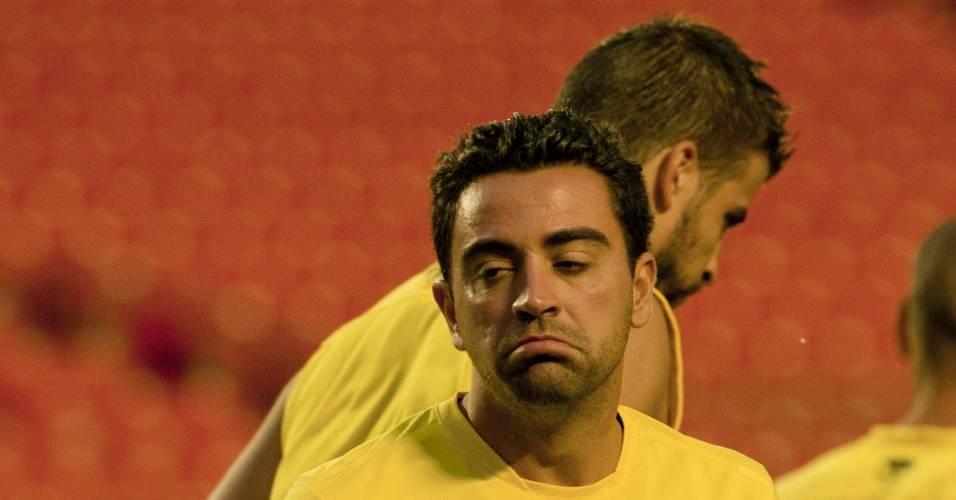 Xavi participa de treino do Barcelona durante a pré-temporada (02/07/2011)