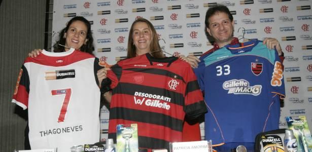 A presidente Patricia Amorim apresenta os novos patrocinadores do Flamengo na Gávea