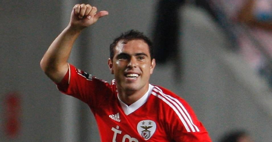 Bruno César comemora gol do Benfica sobre o Feirense pelo Campeonato Português
