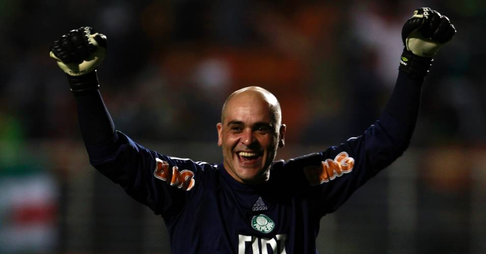 Marcos comemora gol do Palmeiras em jogo contra o Vasco na Sul-Americana (25/08/2011)