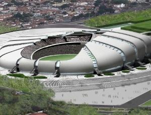 Maquete da Arena das Dunas, que até sexta passada utilizou areia de dunas em sua construção