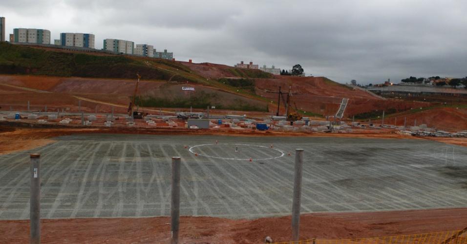 05.10.2011 - Imagem mostra área onde será o campo do Itaquerão, futuro estádio do Corinthians e sede da Copa do Mundo de 2014