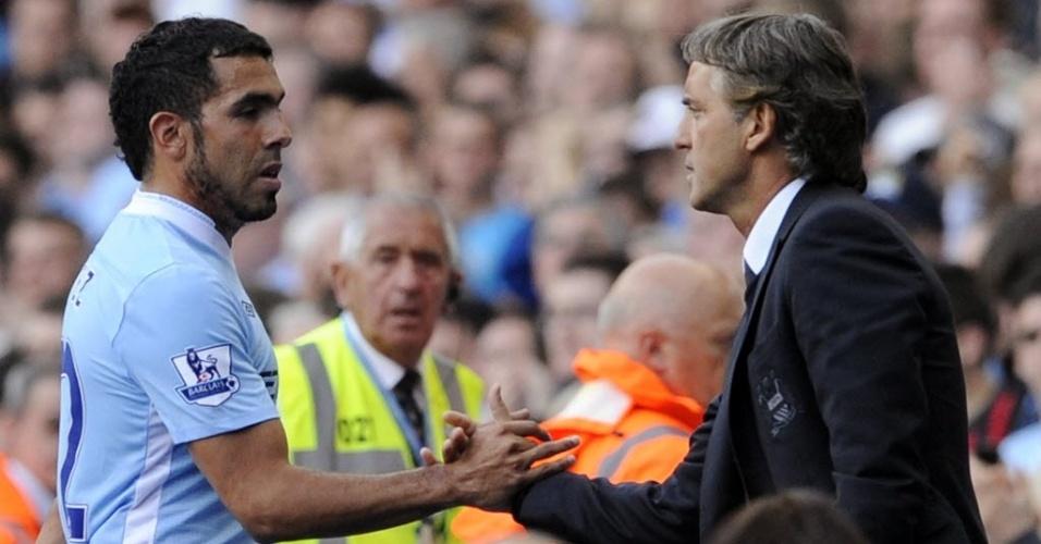 Roberto Mancini substitui Tevez em partida contra o Wigan Athletic