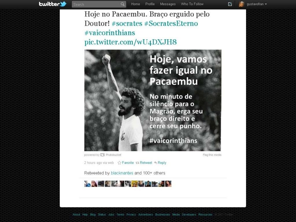 Reprodução da imagem que convoca a torcida do Corinthians a respeitar o minuto de silêncio em homenagem a Sócrates (04/12/2012)