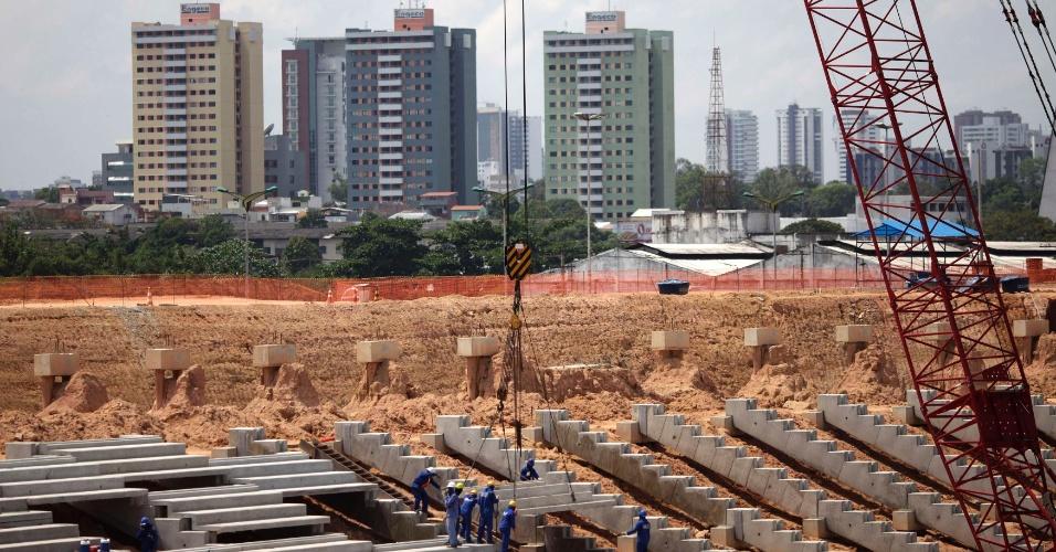 Andamento das obras na Arena Amazônia, em Manaus, em setembro de 2011