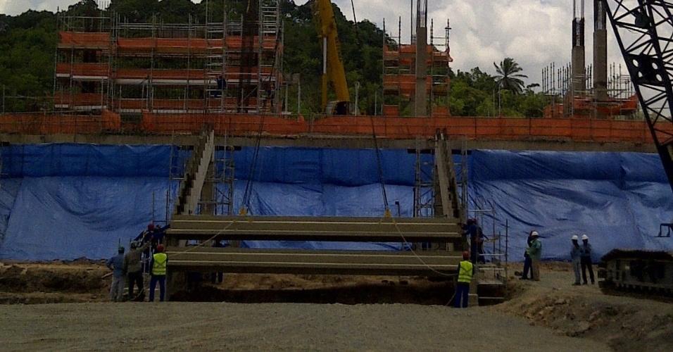 Primeiros lances de arquibancadas são instalados na Arena Pernambuco