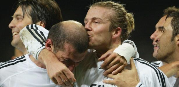 Beckham e Zidane quando atuavam juntos no Real Madrid: admiração com trabalho de treinador