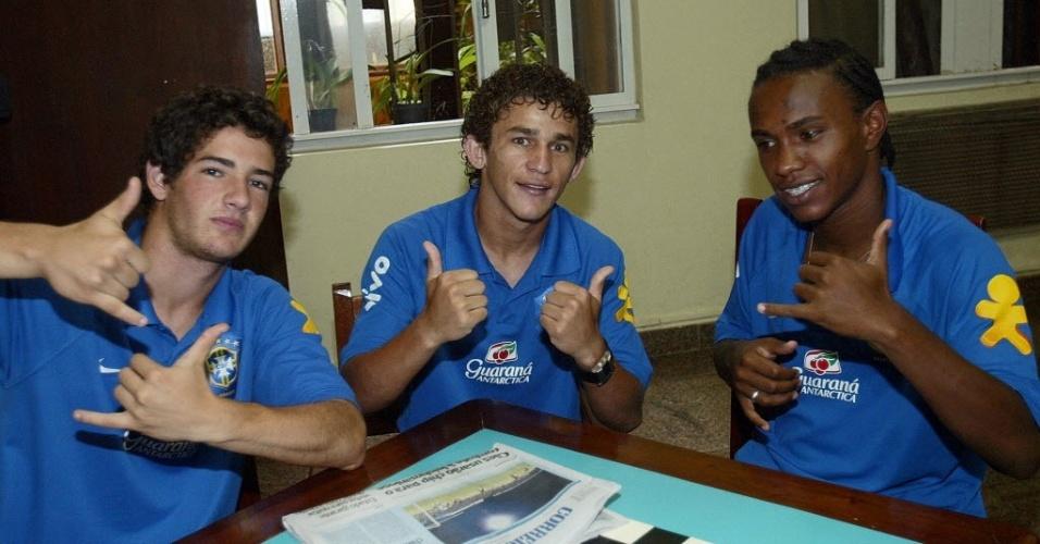 Alexandre Pato, Leandro Lima e Willian, pela seleção sub-20