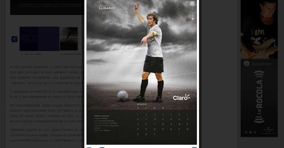 Diego Lugano, capitão da seleção do Uruguai, em um calendário dos jogadores do time