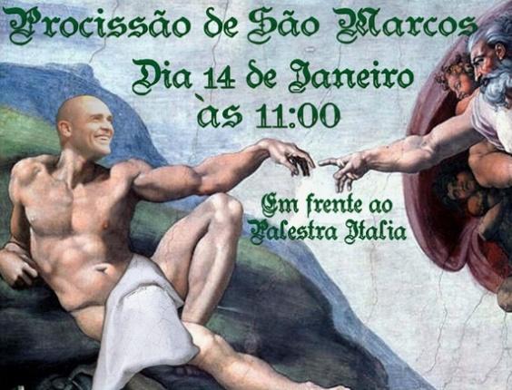 Cartaz da procissão pelo goleiro Marcos programada por torcedores palmeirenses