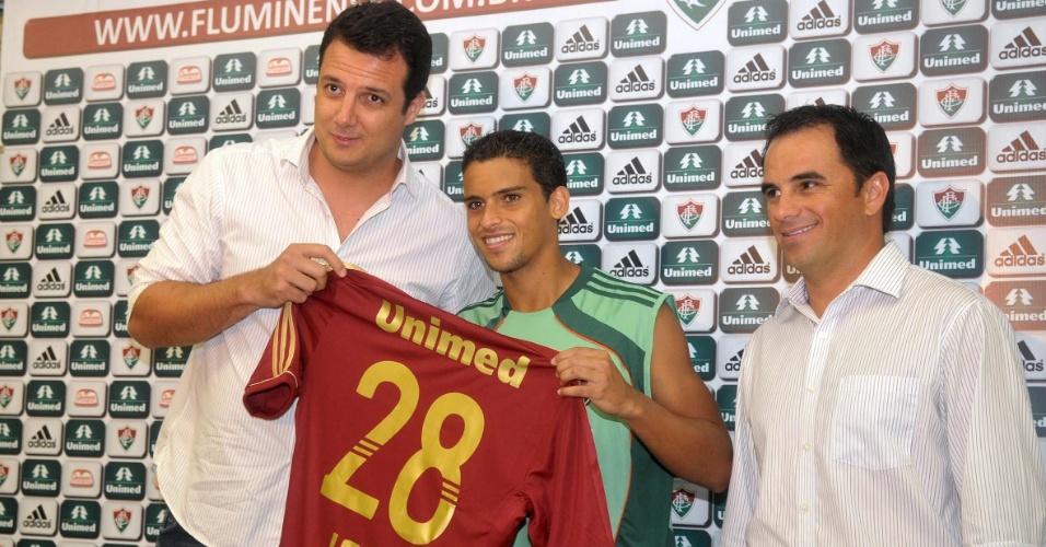 Sandro Lima, Jean e Rodrigo Caetano na apresentação do Fluminense (09/01/2012)