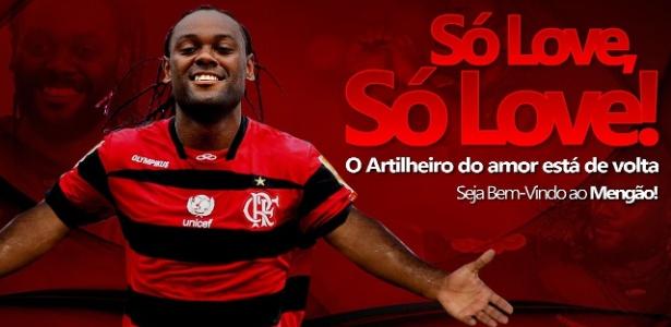 Capa do site do Flamengo estampa a contratação do atacante Vagner Love