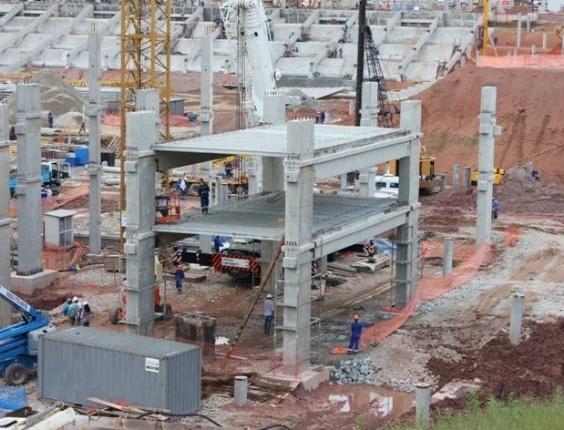 No dia 3 de fevereiro de 2012, teve início a construção das lajes do edifício oeste do Itaquerão