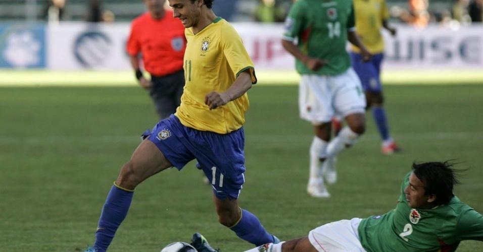 Nilmar em amistoso da seleção brasileira contra a Bolívia