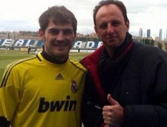 Rogério Ceni se encontra com Iker Casillas em Madri (14/02/2012)