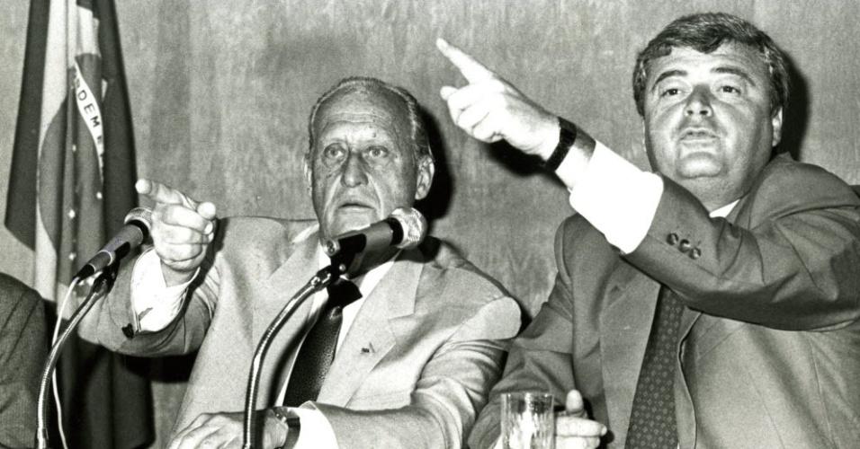 João Havelange e Ricardo Teixeira na CBF, em 1989