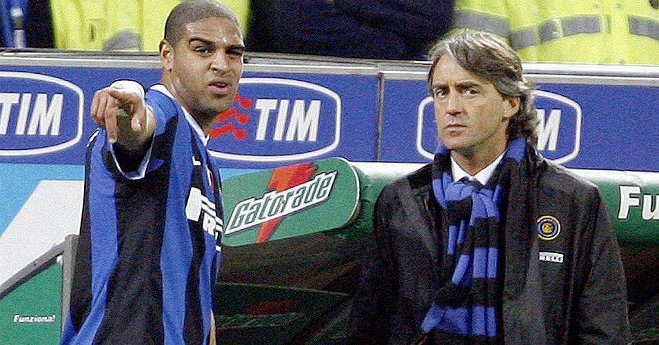 Adriano entra em má fase na Itália e é barrado pelo técnico da Inter, Roberto Mancini em 2007