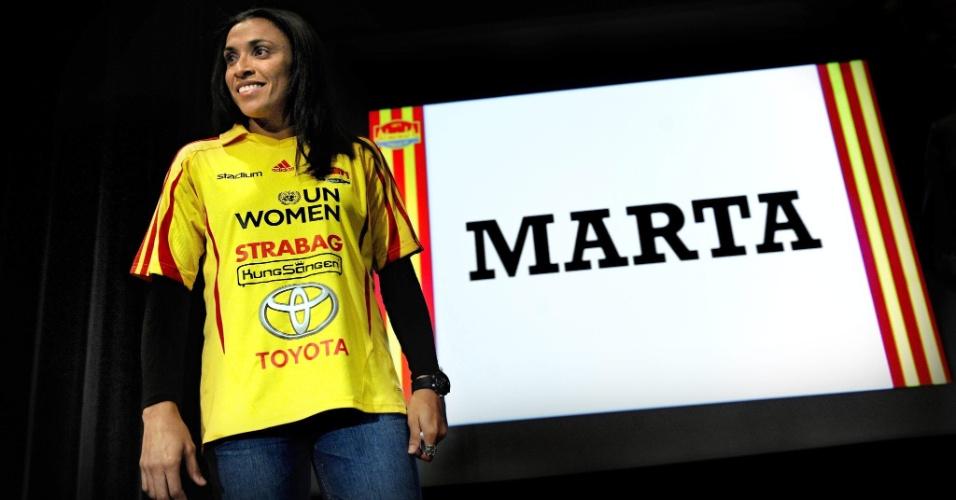Marta é apresentada como nova jogadora do Tyreso, da Suécia (22/02/2012)