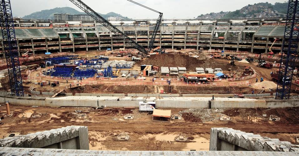 Detalhe das obras do Maracanã em 30/01/2012