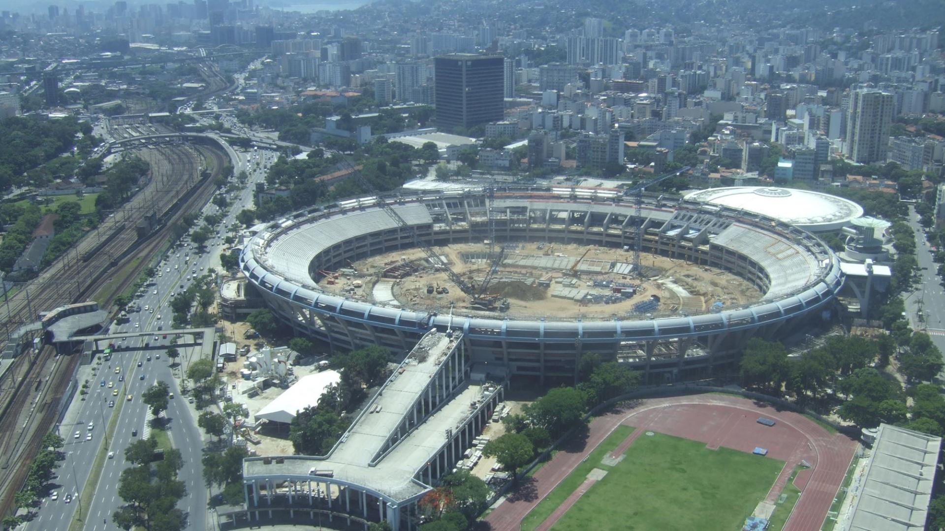 Imagem aérea das obras no Maracanã