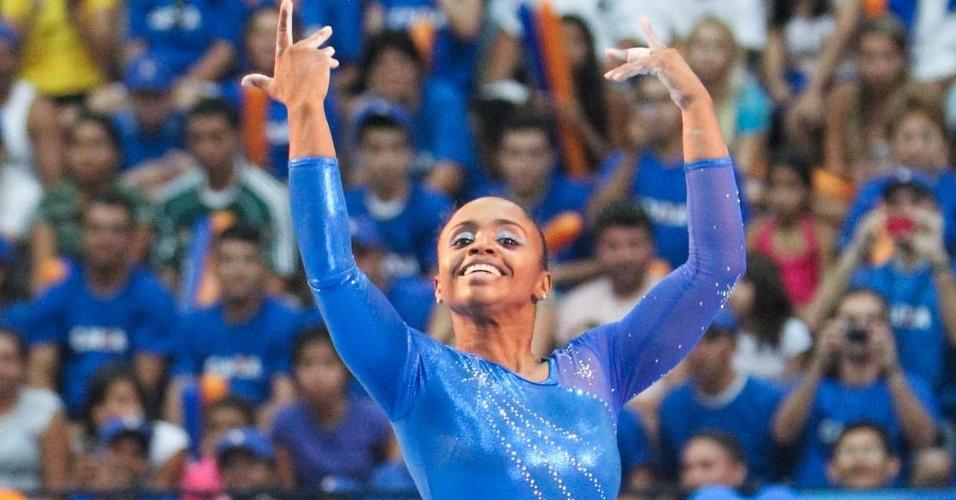 Daiane dos Santos foi medalhista de ouro no solo no Meeting Internacional em Natal (26/06/2011)