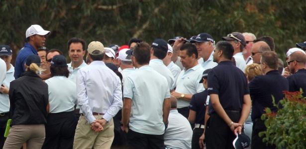 Ofendido de forma racista por seu ex-caddie, Tiger Woods ministra clínica de golfe em Perth, Austrália - Tony Ashby/AFP