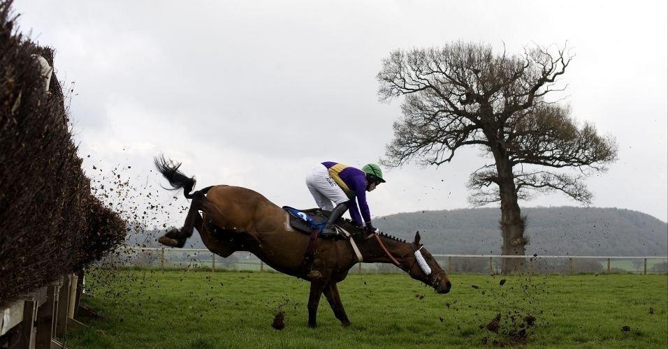 Cavalheiro Peter Toole cai após obstáculo em prova de cavalos na Inglaterra