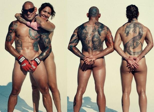 Lutadores brasileiros Evangelista e Cris Cyborg, nus para a revista ESPN dos EUA