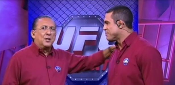 Galvão Bueno e Vitor Belfort na transmissão do UFC