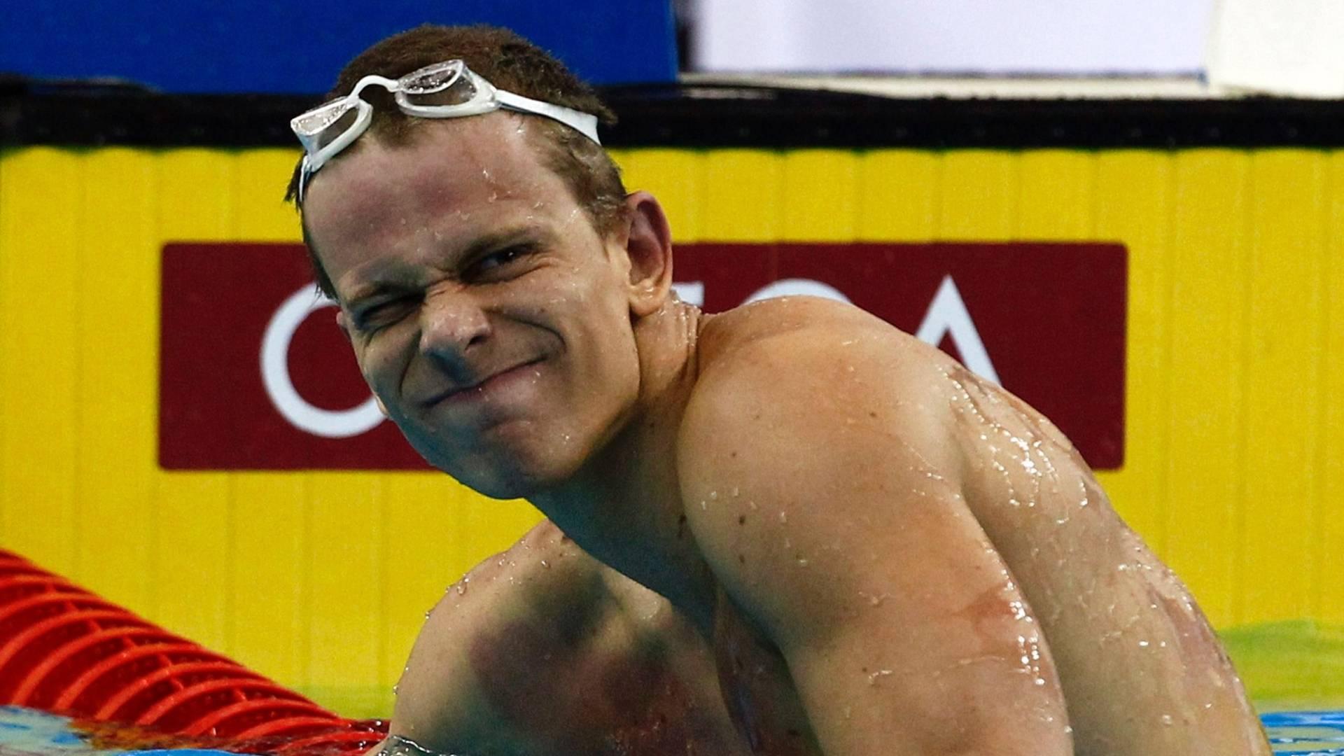 Cielo lamenta após ficar sem medalha nos 100 m no Mundial em Xangai (28/07/2011)