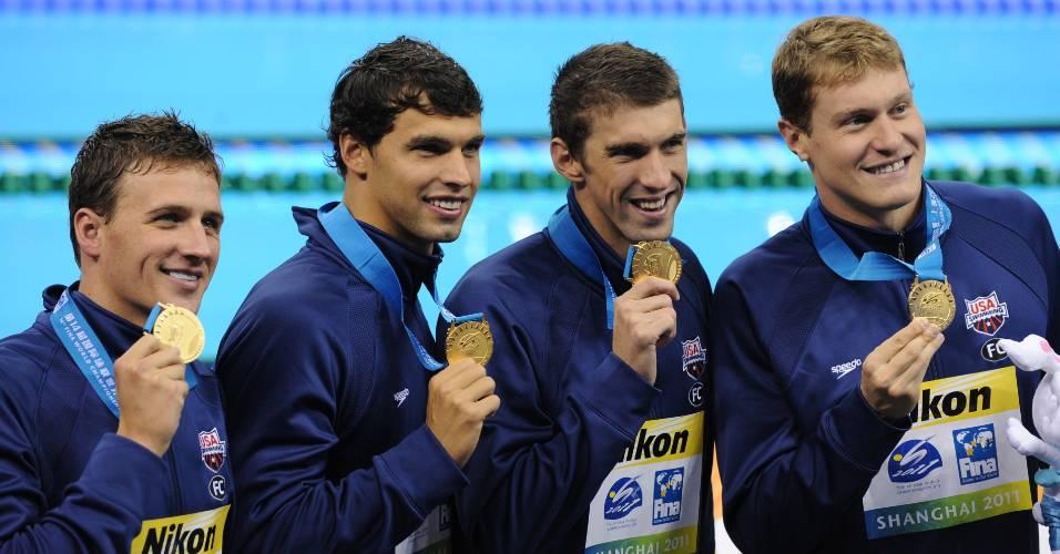 Revezamento norte-americano exibe o ouro dos 4 x 200 m livre em Xangai (29/07/2011)